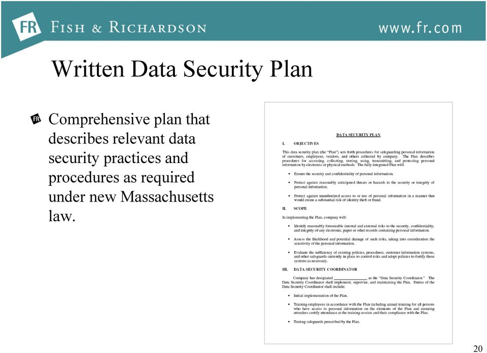 relevant data security practices and