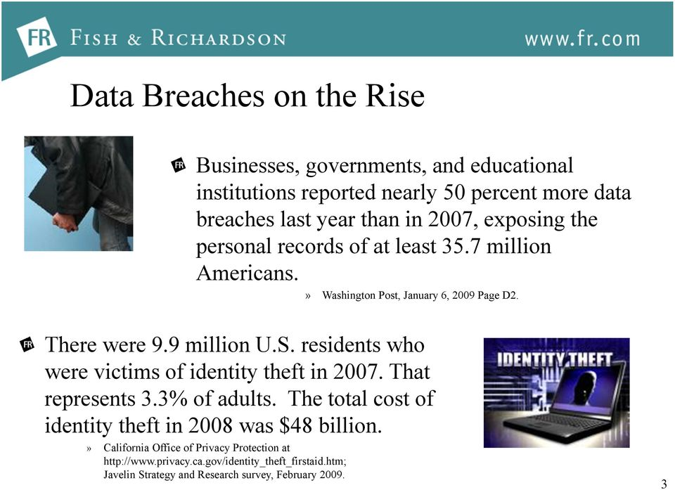 residents who were victims of identity theft in 2007. That represents 3.3% of adults. The total cost of identity theft in 2008 was $48 billion.