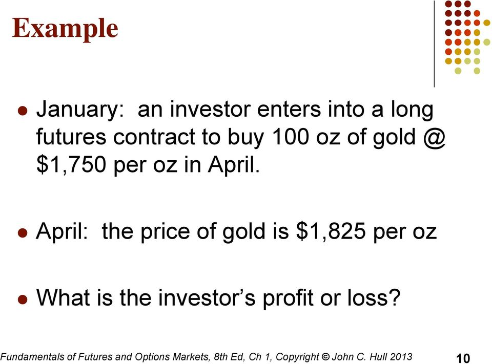 April: the price of gold is $1,825 per oz What is the investor s