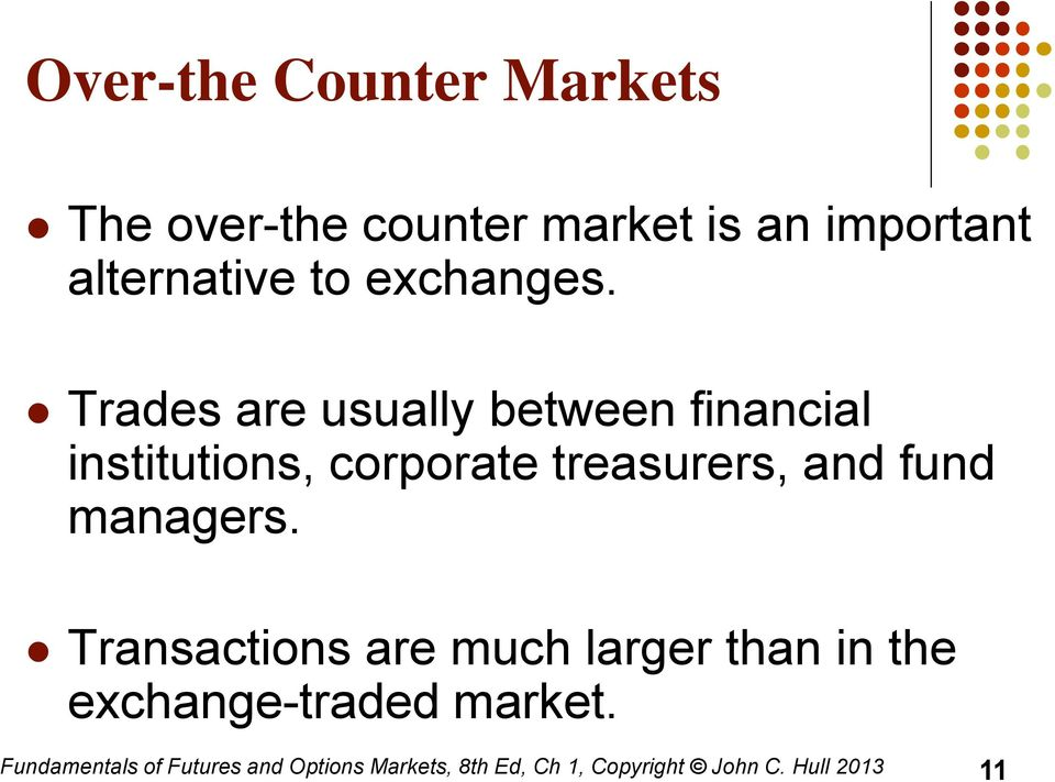 Trades are usually between financial institutions, corporate treasurers, and fund