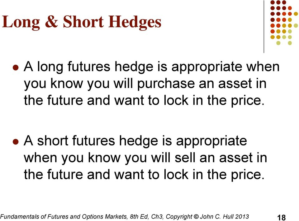 A short futures hedge is appropriate when you know you will sell  Fundamentals of