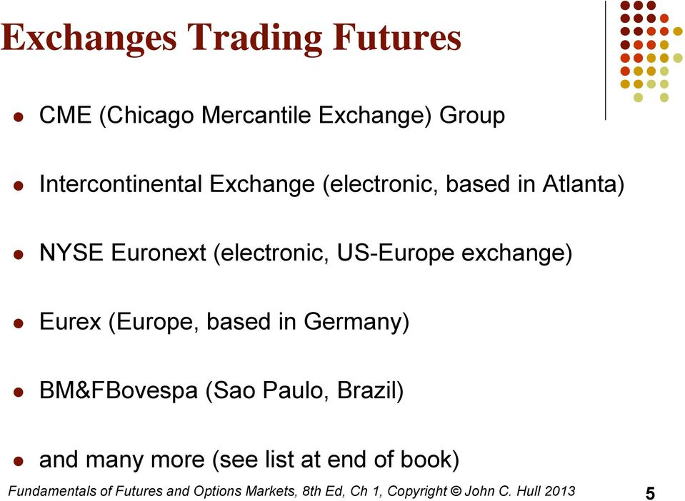 Eurex (Europe, based in Germany) BM&FBovespa (Sao Paulo, Brazil) and many more (see list