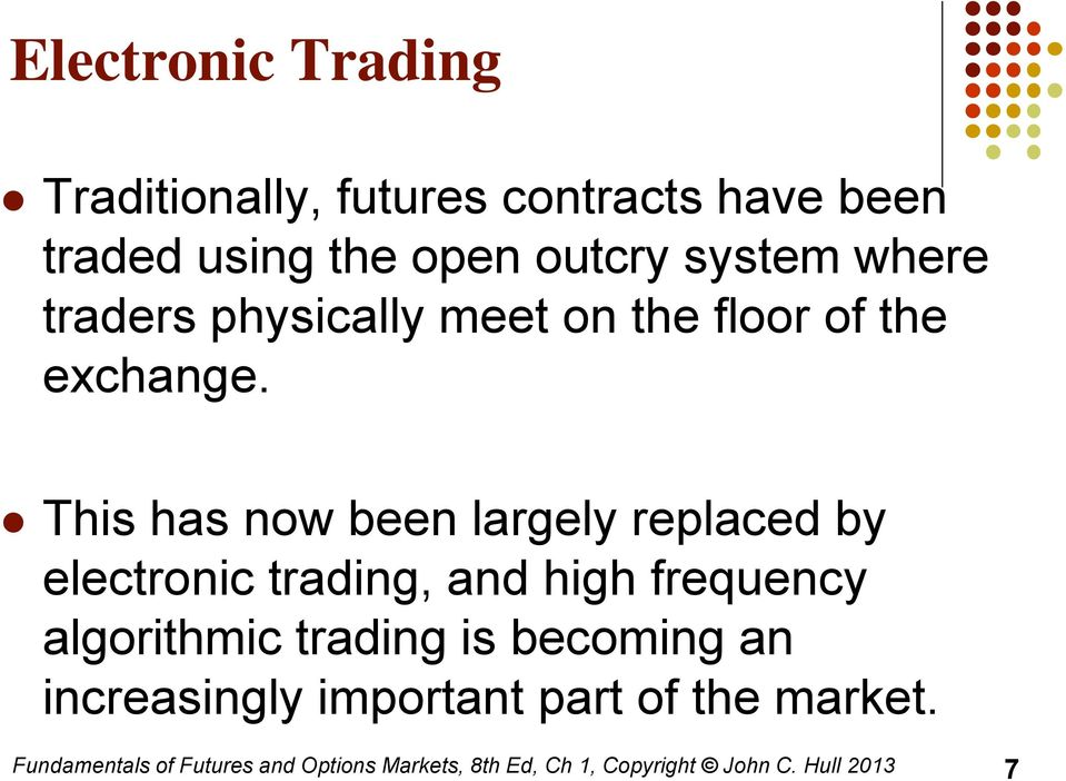 This has now been largely replaced by electronic trading, and high frequency algorithmic trading is