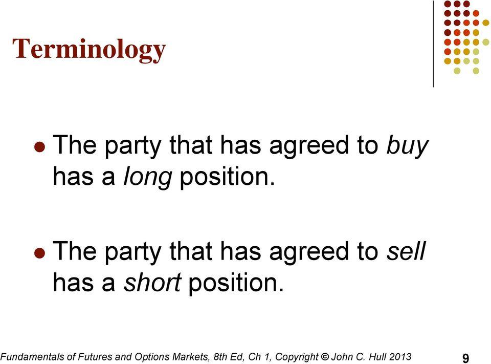 The party that has agreed to sell has a short