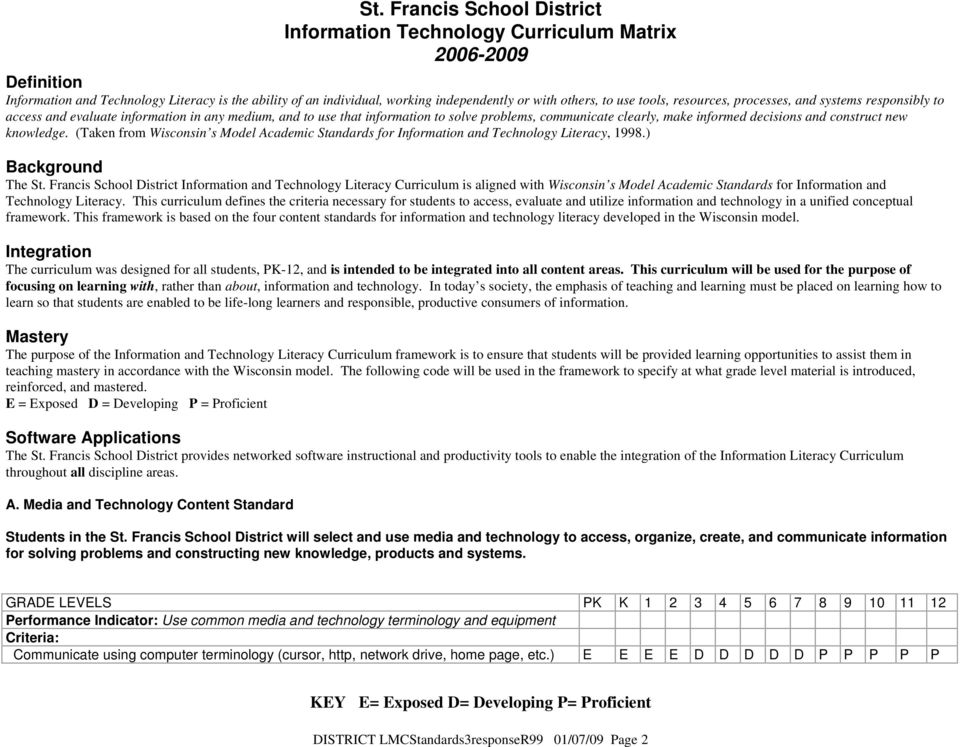 (Taken from Wisconsin s Model Academic Standards for Information and Technology Literacy, 1998.) Background The St.