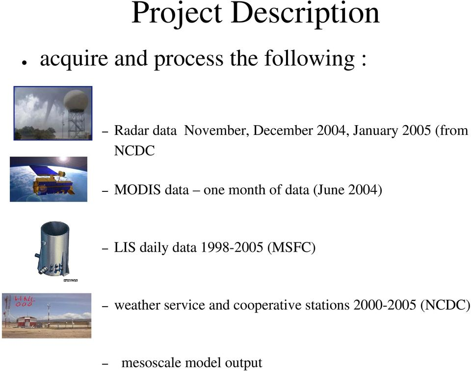 month of data (June 2004) LIS daily data 1998-2005 (MSFC) weather