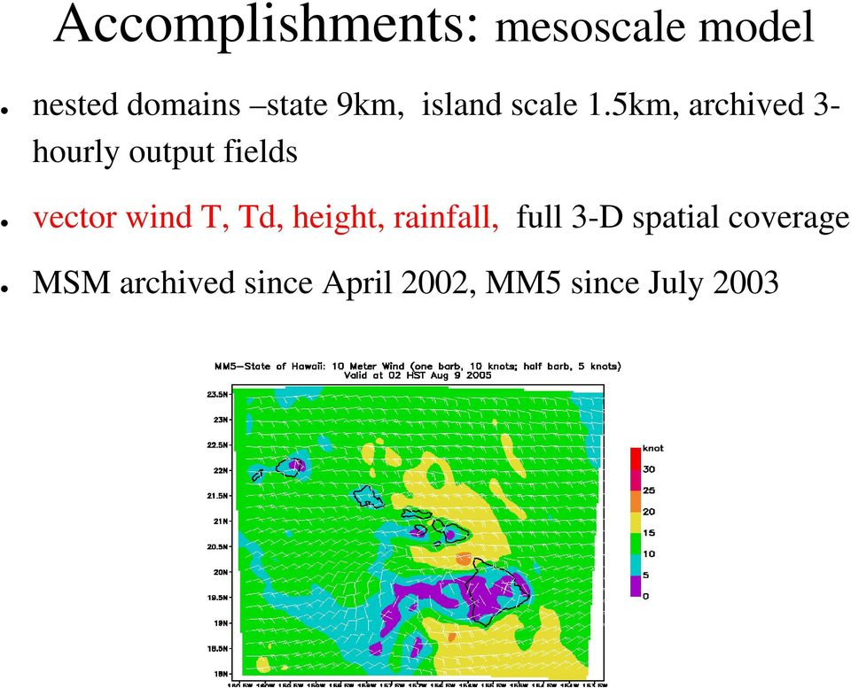5km, archived 3- hourly output fields vector wind T, Td,