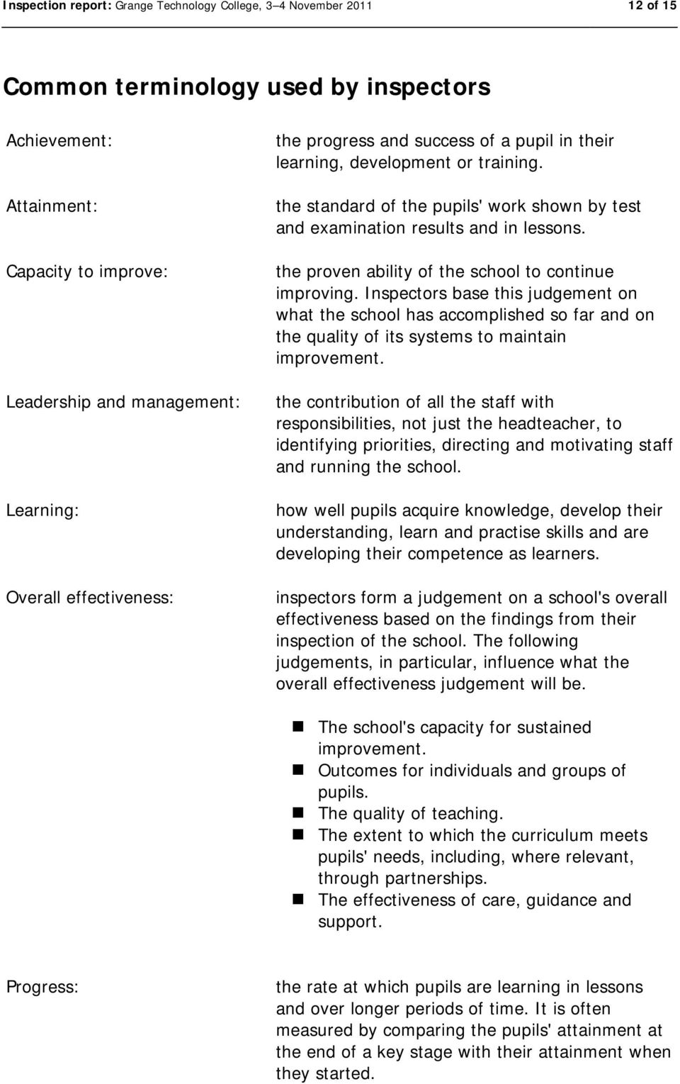 the proven ability of the school to continue improving. Inspectors base this judgement on what the school has accomplished so far and on the quality of its systems to maintain improvement.