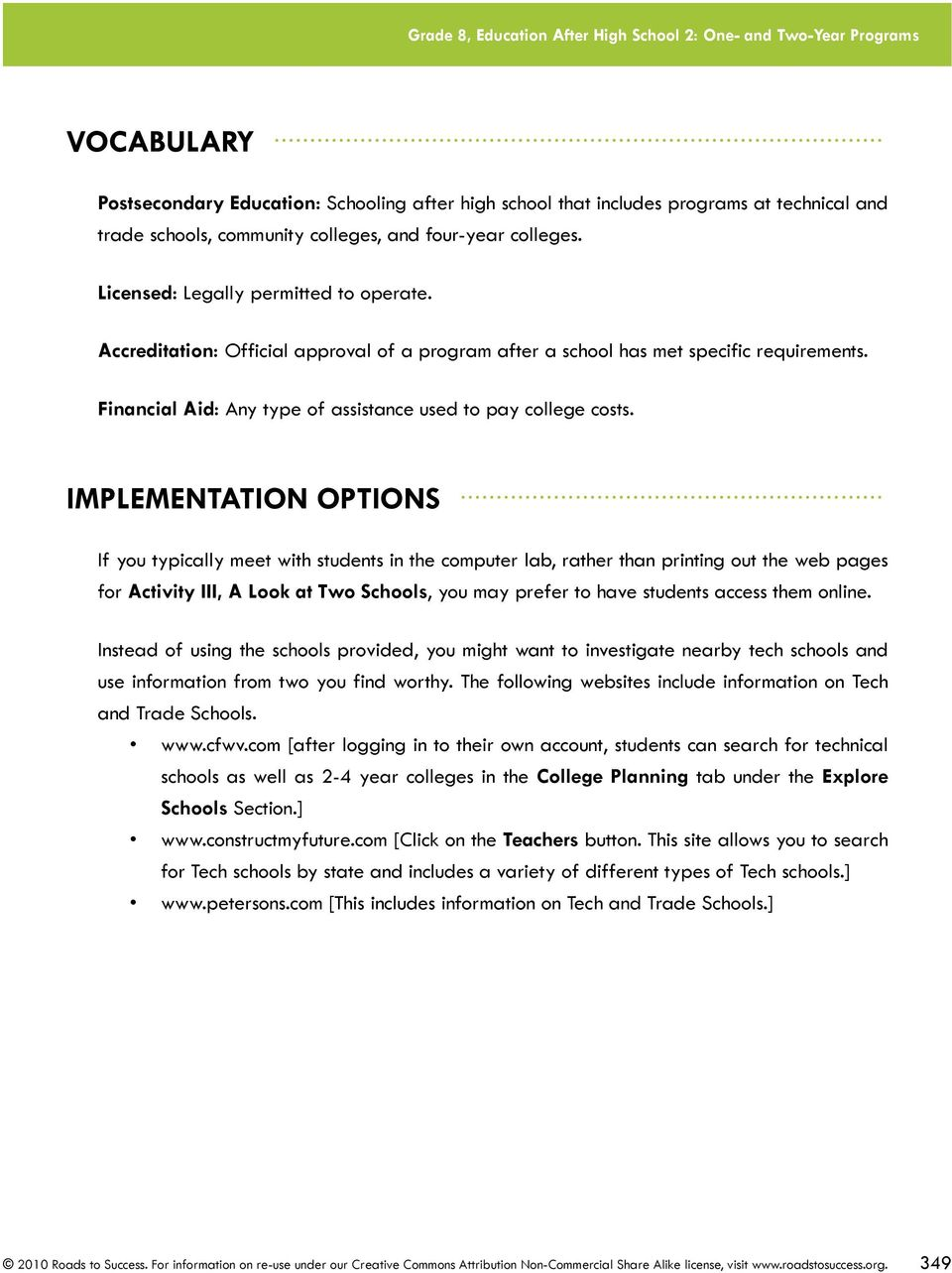 IMPLEMENTATION OPTIONS.