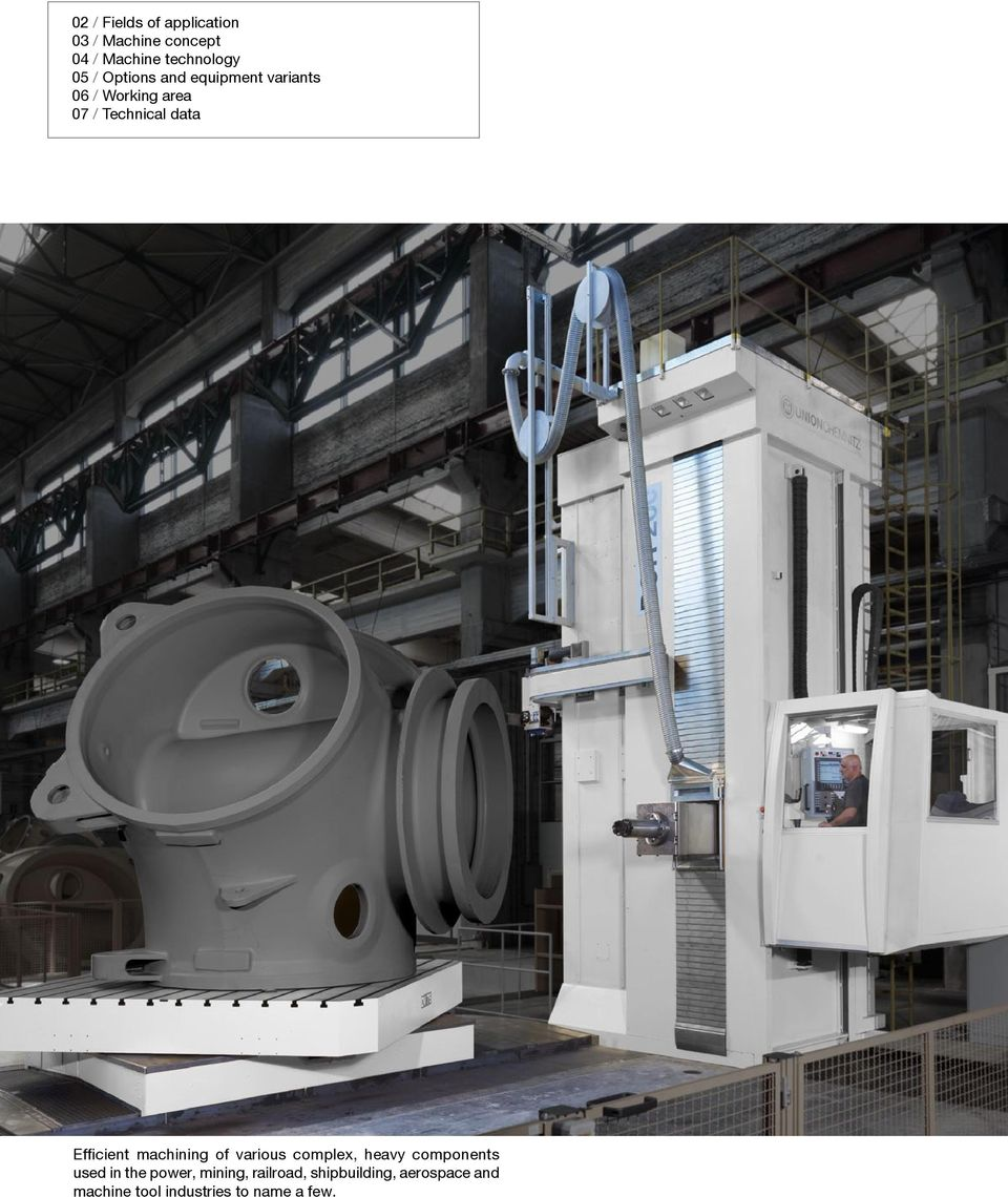 Efficient machining of various complex, heavy components used in the power,