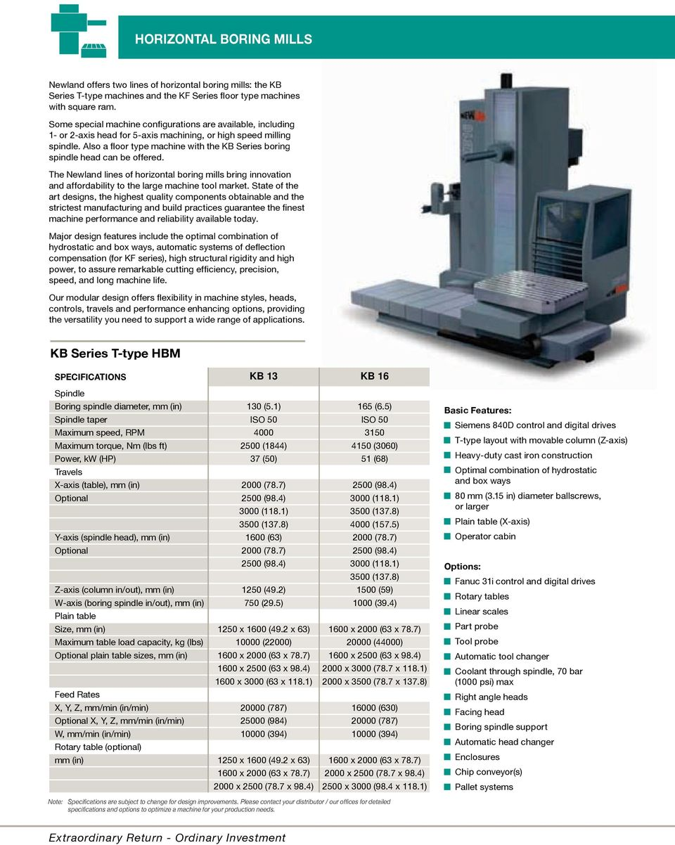 Also a floor type machine with the KB Series boring spindle head can be offered. The Newland lines of horizontal boring mills bring innovation and affordability to the large machine tool market.