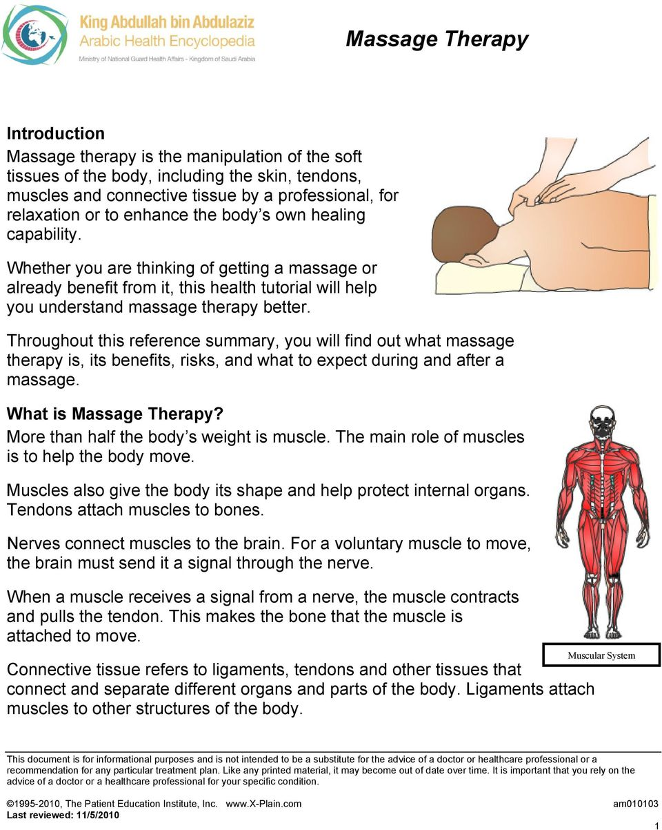 Throughout this reference summary, you will find out what massage therapy is, its benefits, risks, and what to expect during and after a massage. What is Massage Therapy?