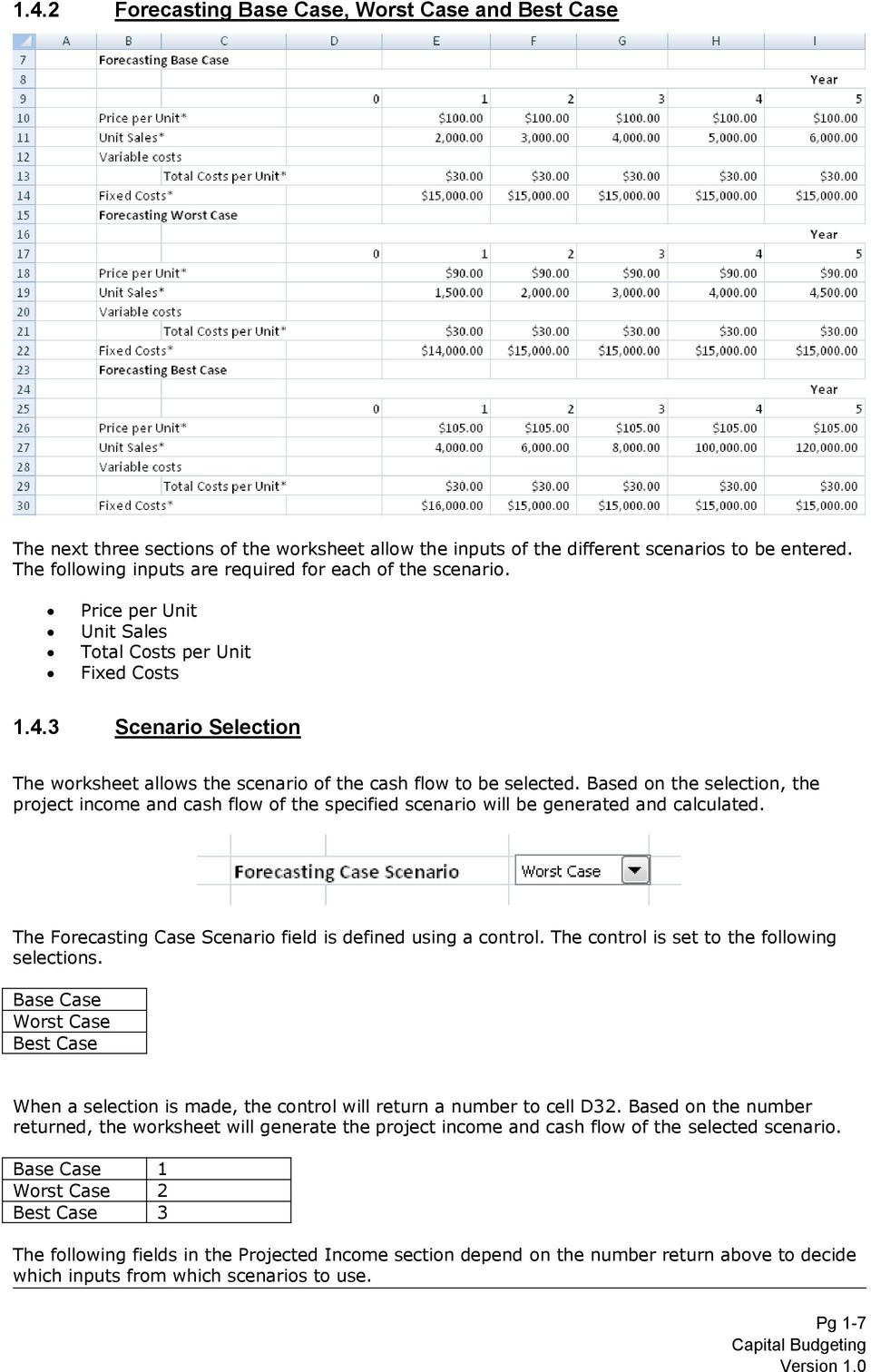 3 Scenario Selection The worksheet allows the scenario of the cash flow to be selected.