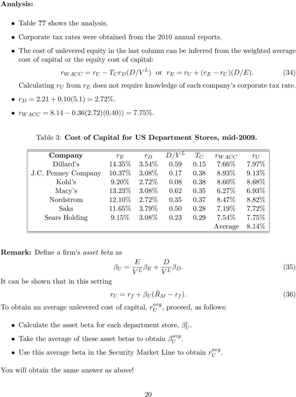 (34) Calculating r U from r E does not require knowledge of each company s corporate tax rate. r D = 2.21 + 0.10(5.1) = 2.72%. r W ACC = 8.14 0.36(2.72)(0.40)) = 7.75%.