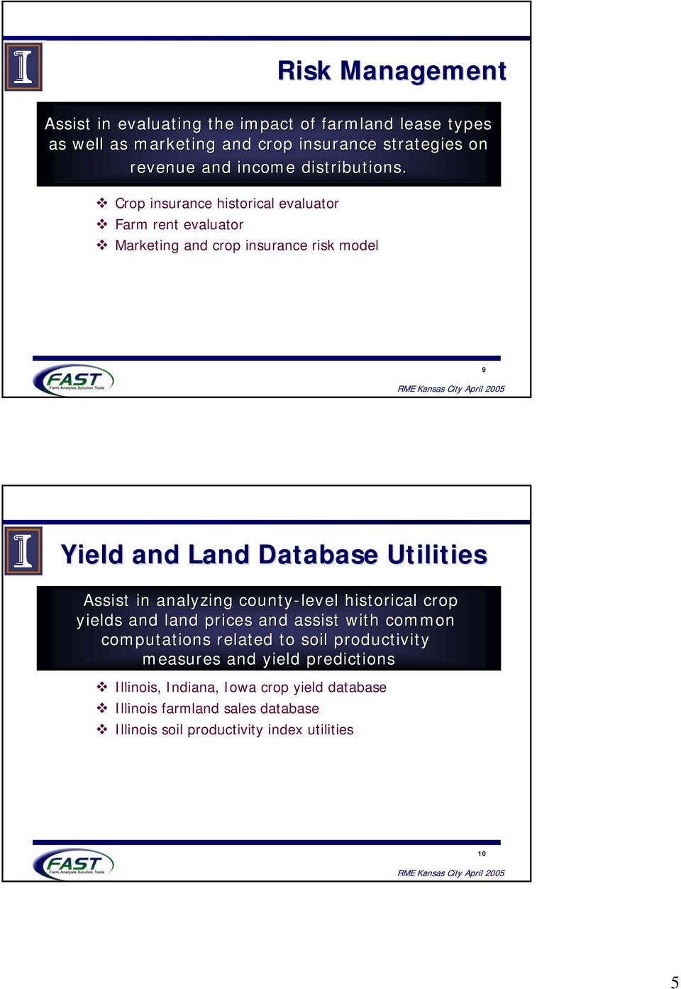 Crop insurance historical evaluator Farm rent evaluator Marketing and crop insurance risk model 9 Yield and Land Database Utilities Assist in
