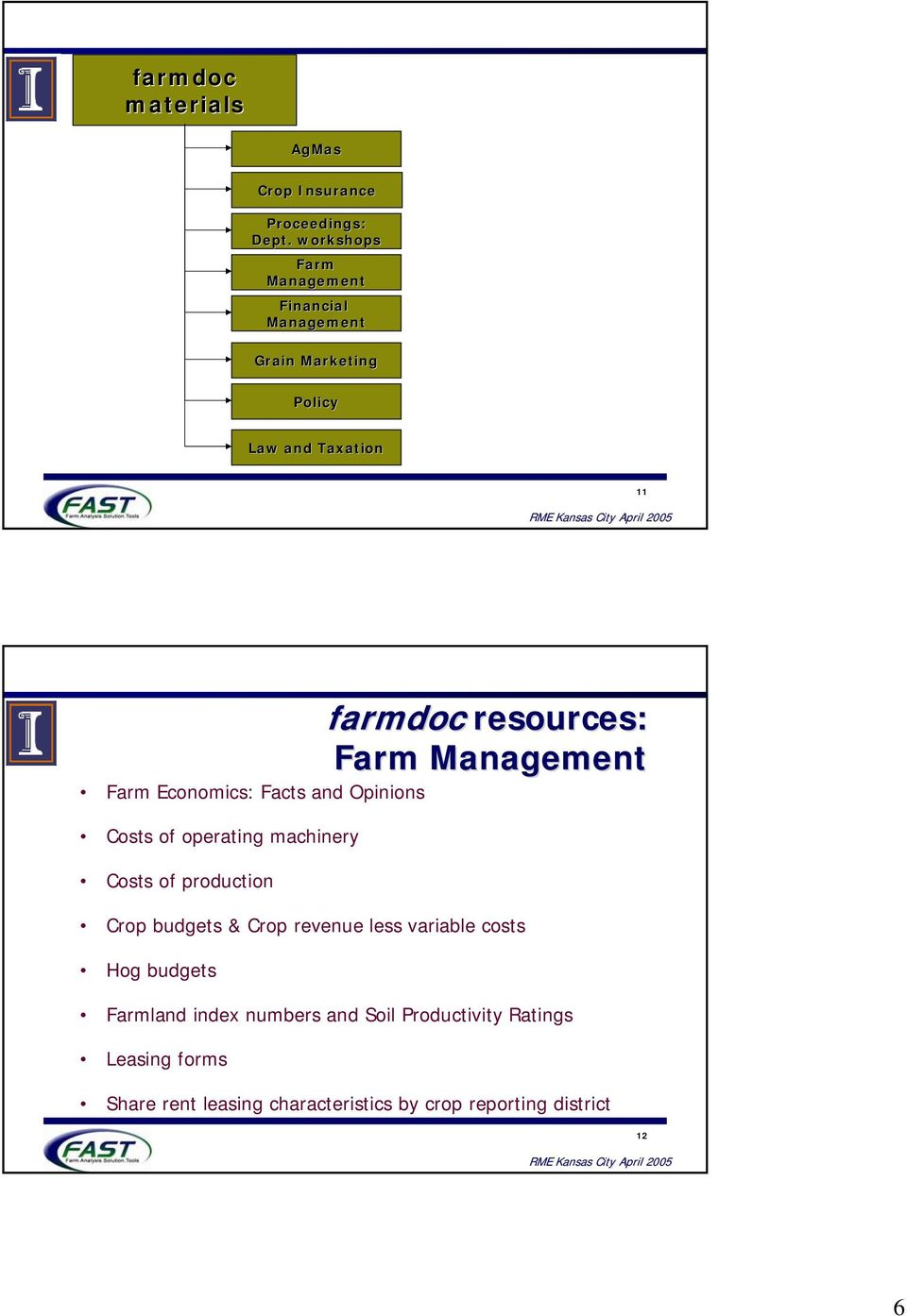 Management Farm Economics: Facts and Opinions Costs of operating machinery Costs of production Crop budgets & Crop