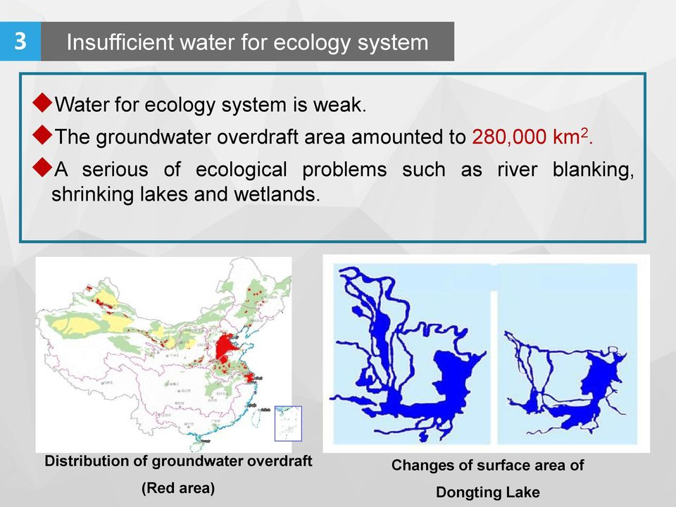 A serious of ecological problems such as river blanking, shrinking lakes and