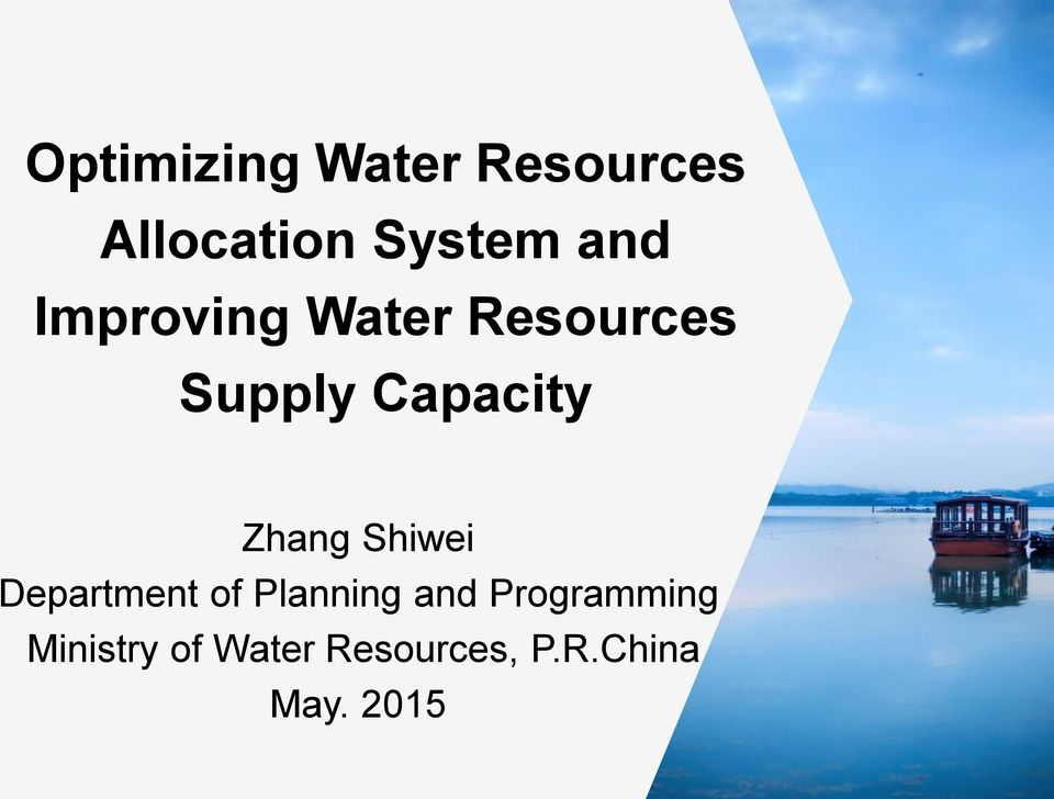 Zhang Shiwei Department of Planning and