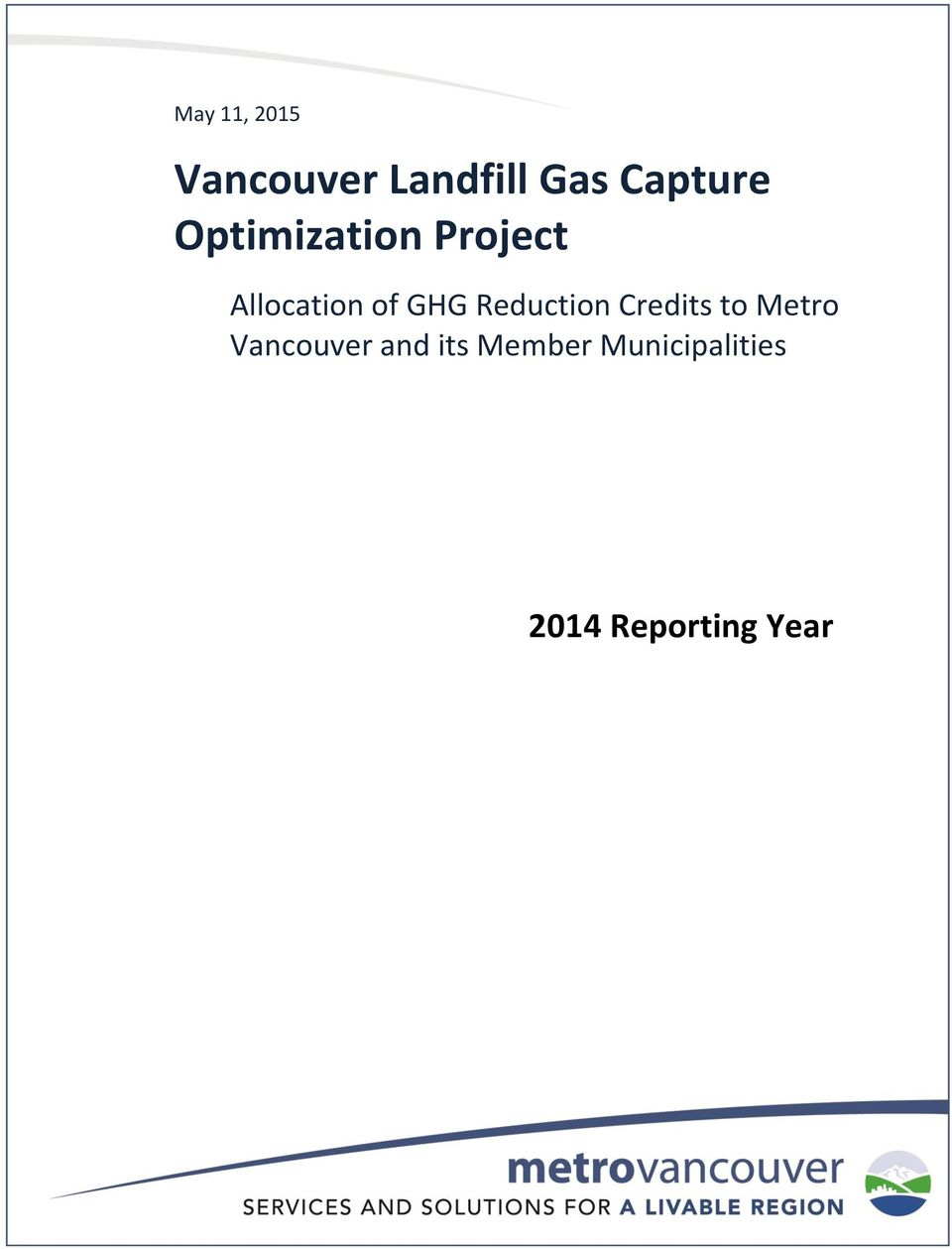 GHG Reduction Credits to Metro Vancouver
