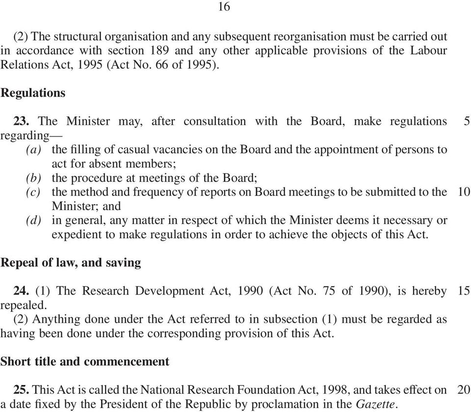 The Minister may, after consultation with the Board, make regulations regarding (a) the filling of casual vacancies on the Board and the appointment of persons to act for absent members; (b) the