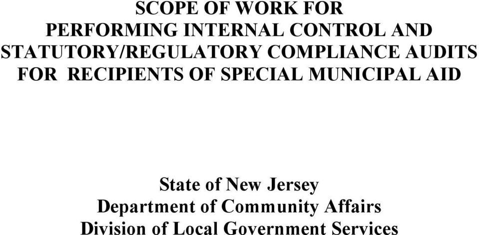 OF SPECIAL MUNICIPAL AID State of New Jersey