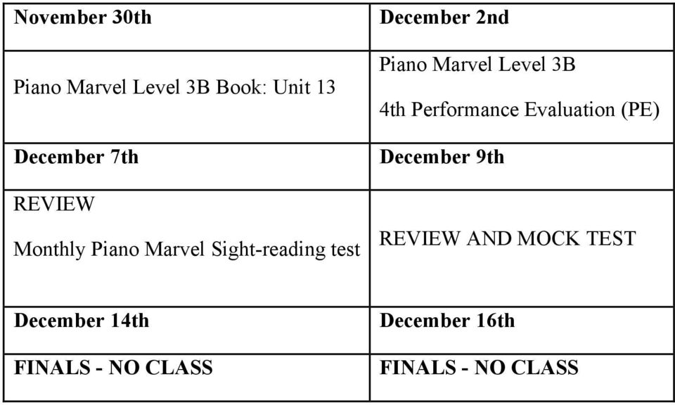 Marvel Level 3B 4th Performance Evaluation (PE) December 9th REVIEW