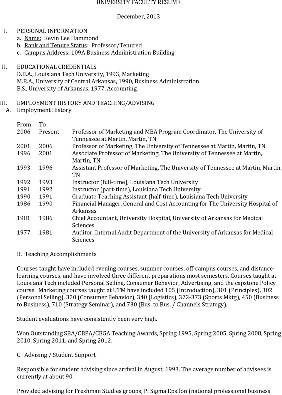 EMPLOYMENT HISTORY AND TEACHING/ADVISING A.