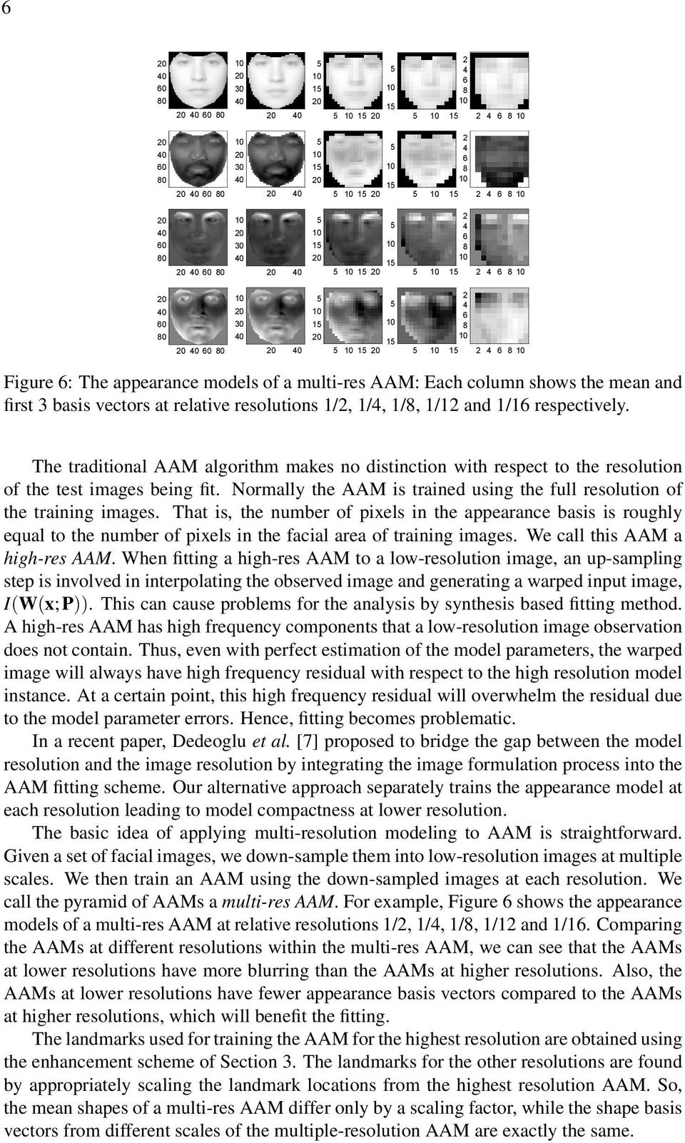The traditional AAM algorithm makes no distinction with respect to the resolution of the test images being fit. Normally the AAM is trained using the full resolution of the training images.