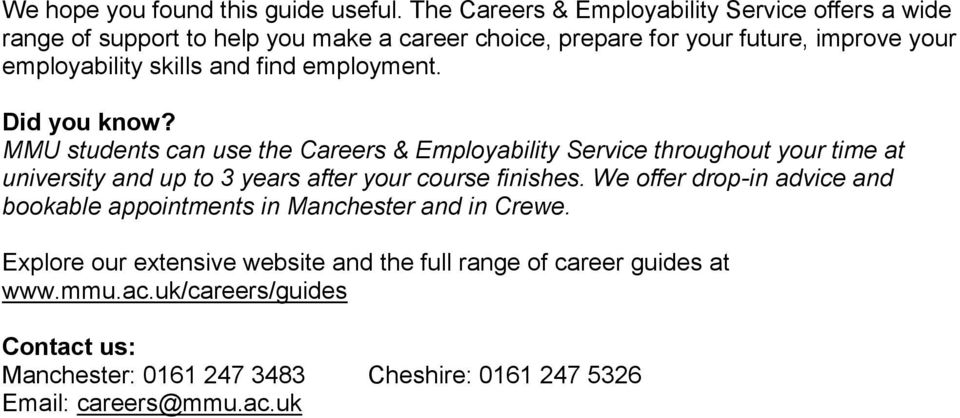 skills and find employment. Did you know?