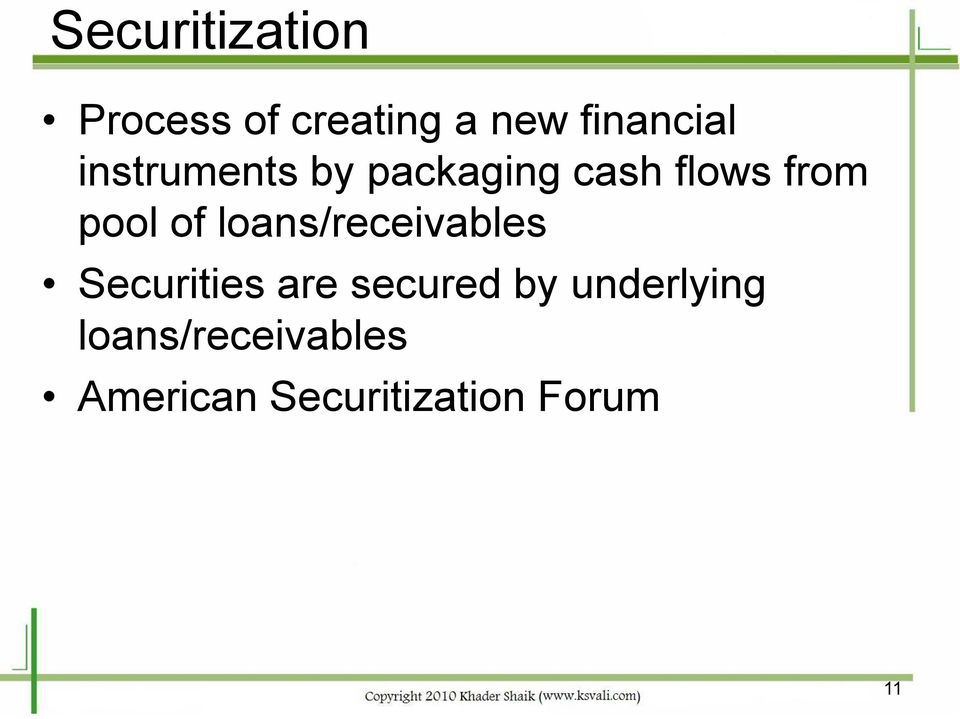 loans/receivables Securities are secured by