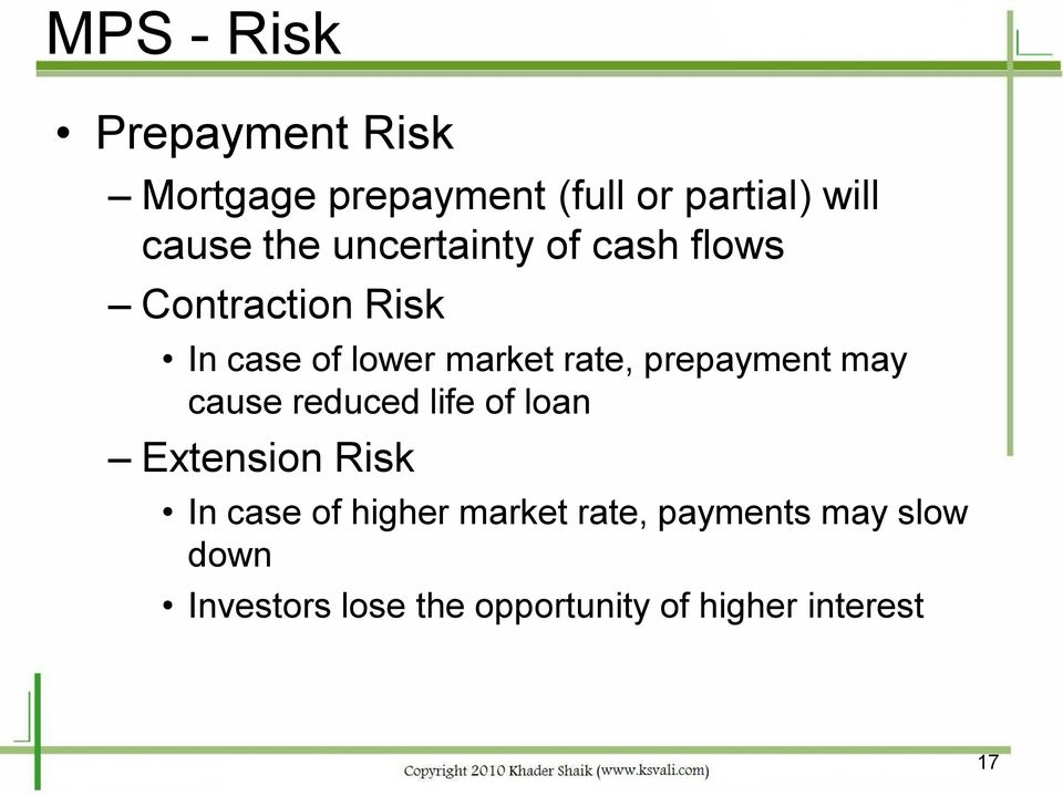 prepayment may cause reduced life of loan Extension Risk In case of higher