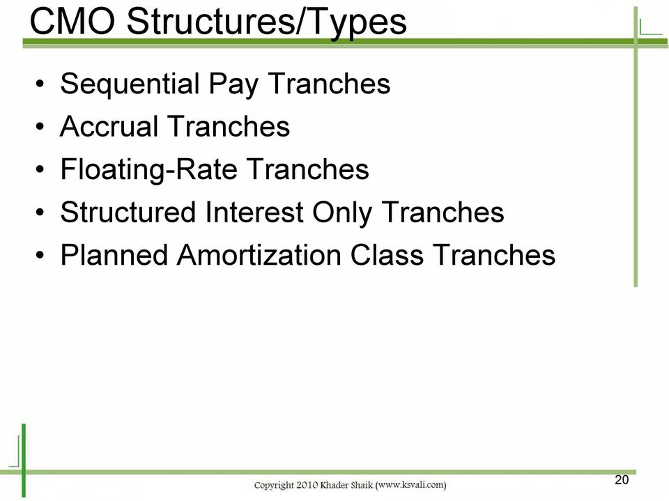Tranches Structured Interest Only