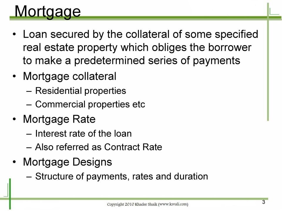 Residential properties Commercial properties etc Mortgage Rate Interest rate of the