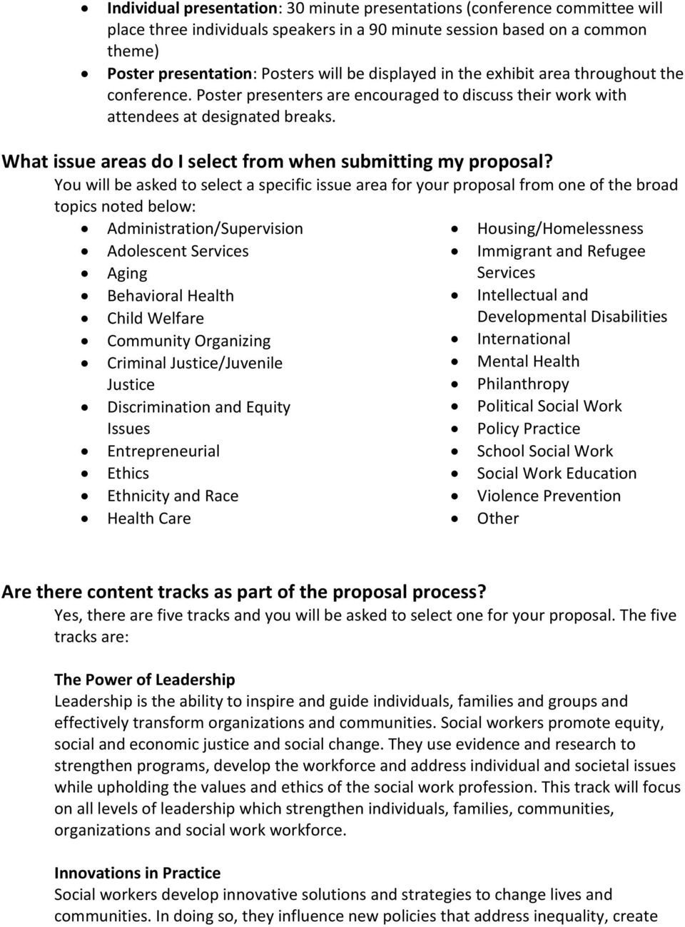What issue areas do I select from when submitting my proposal?