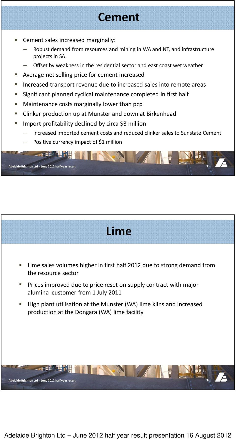 Maintenance costs marginally lower than pcp Clinker production up at Munster and down at Birkenhead Import profitability declined by circa $3 million Increased imported cement costs and reduced
