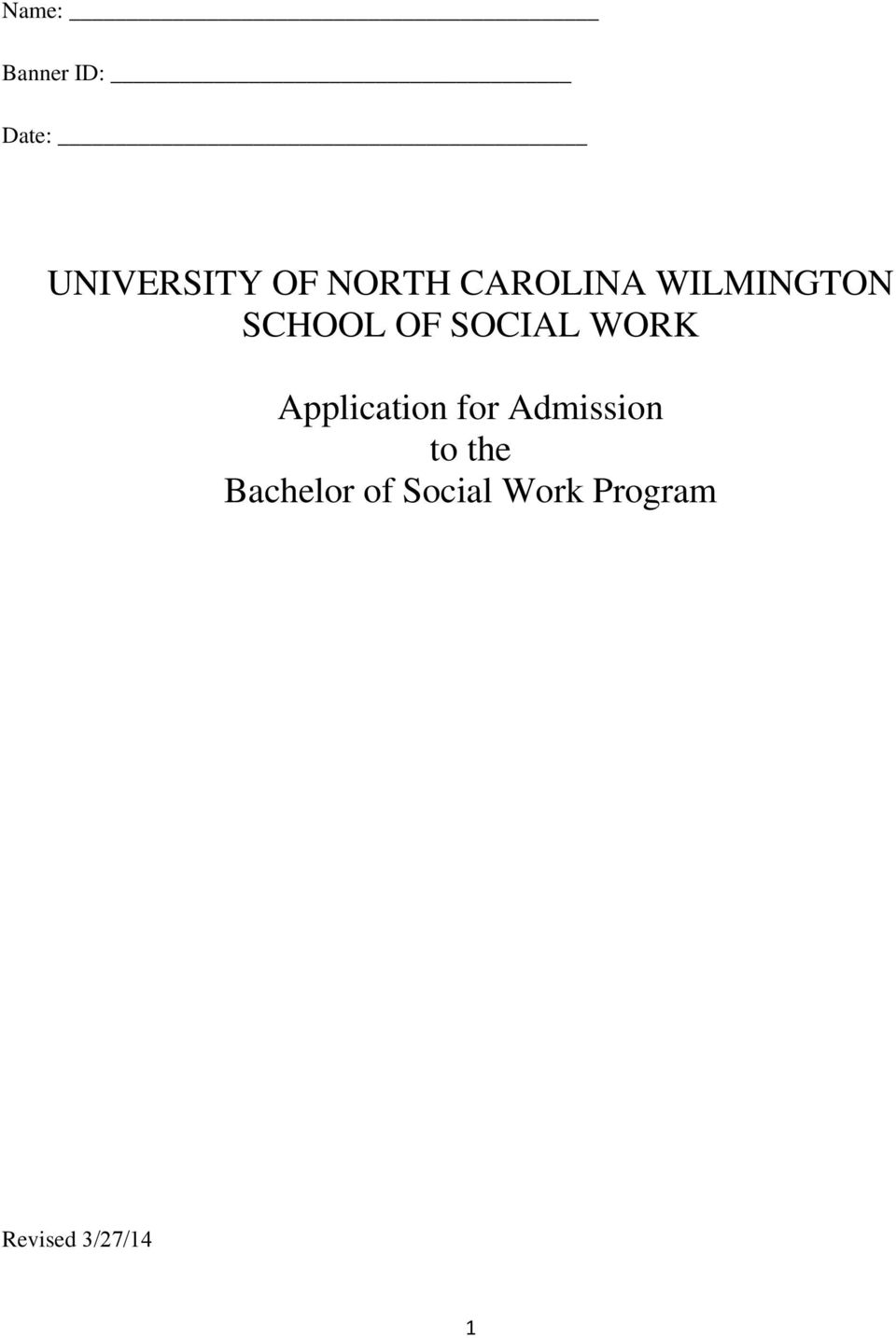 SOCIAL WORK Application for Admission to