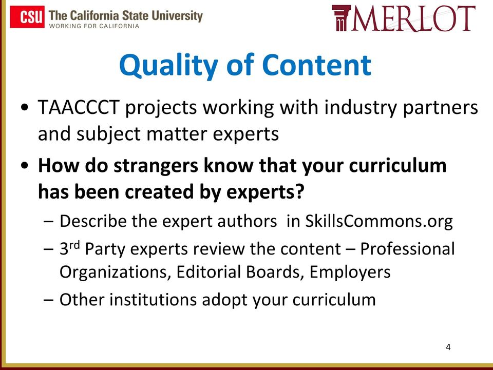 Describe the expert authors in SkillsCommons.