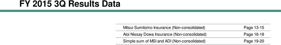 Nissay Dowa Insurance (Non-consolidated) Page