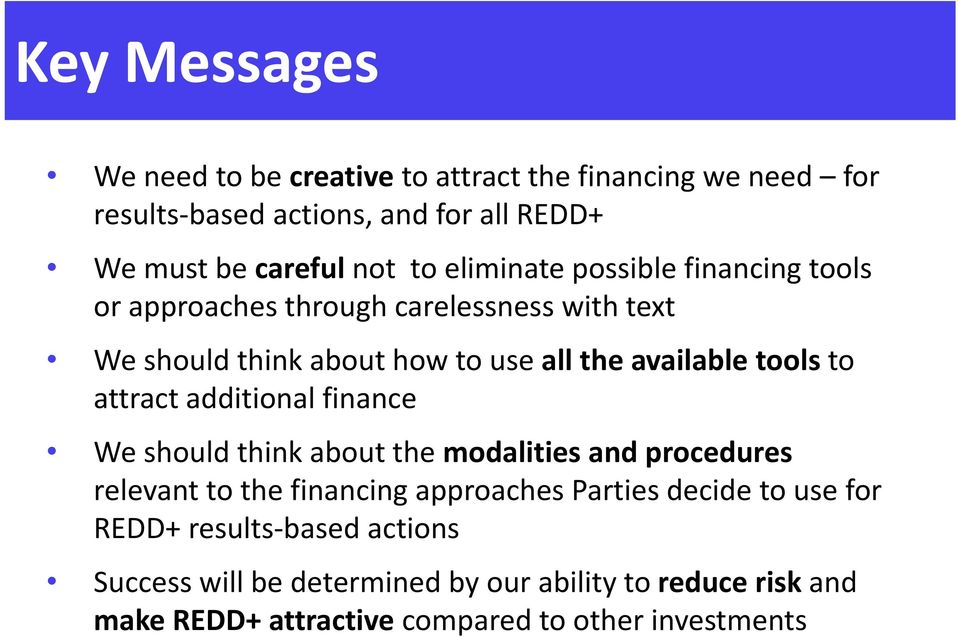 attract additional finance We should think about the modalities and procedures relevant to the financing approaches Parties decide to use