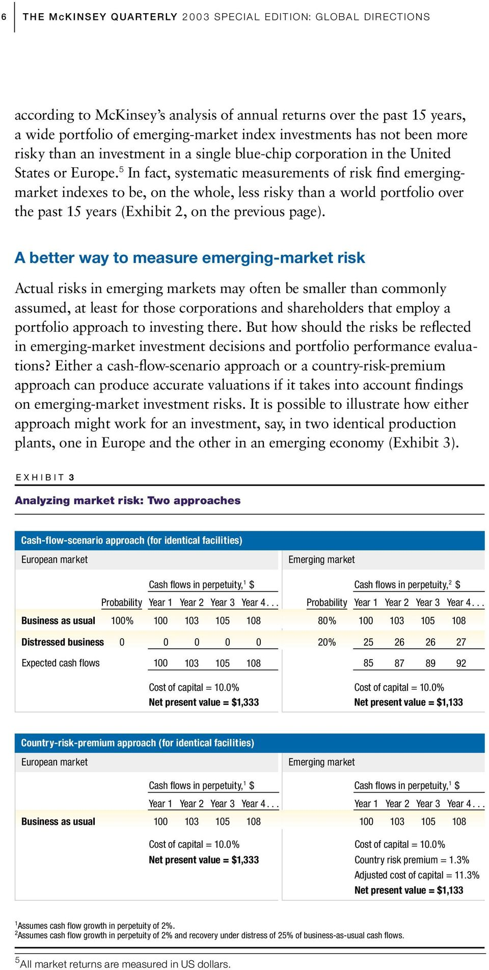 5 In fact, systematic measurements of risk find emergingmarket indexes to be, on the whole, less risky than a world portfolio over the past 15 years (Exhibit 2, on the previous page).