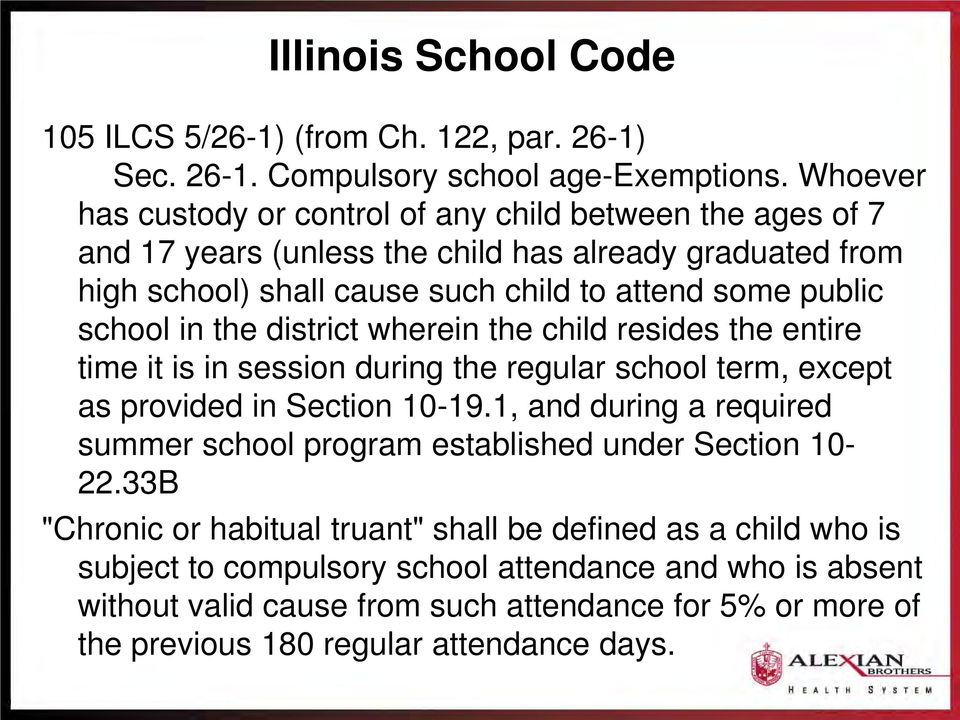 school in the district wherein the child resides the entire time it is in session during the regular school term, except as provided in Section 10-19.