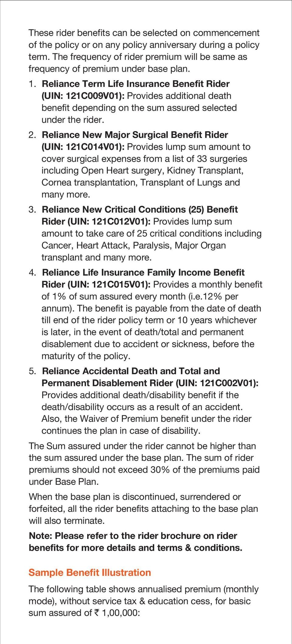 Reliance Term Life Insurance Benefit Rider (UIN: 121C009V01): Provides additional death benefit depending on the sum assured selected under the rider. 2.
