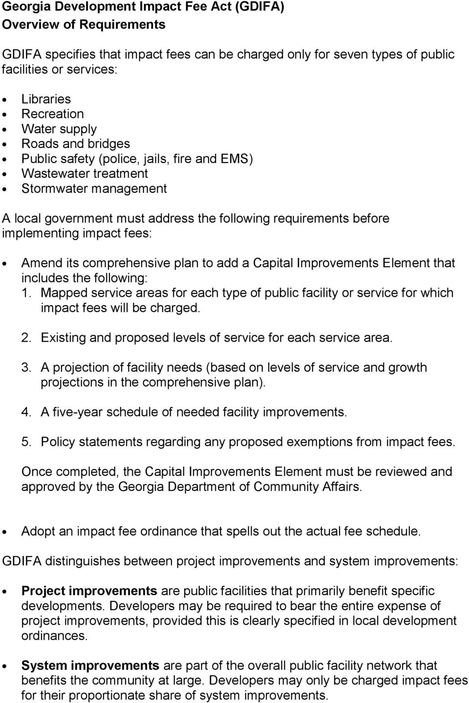 fees: Amend its comprehensive plan to add a Capital Improvements Element that includes the following: 1.