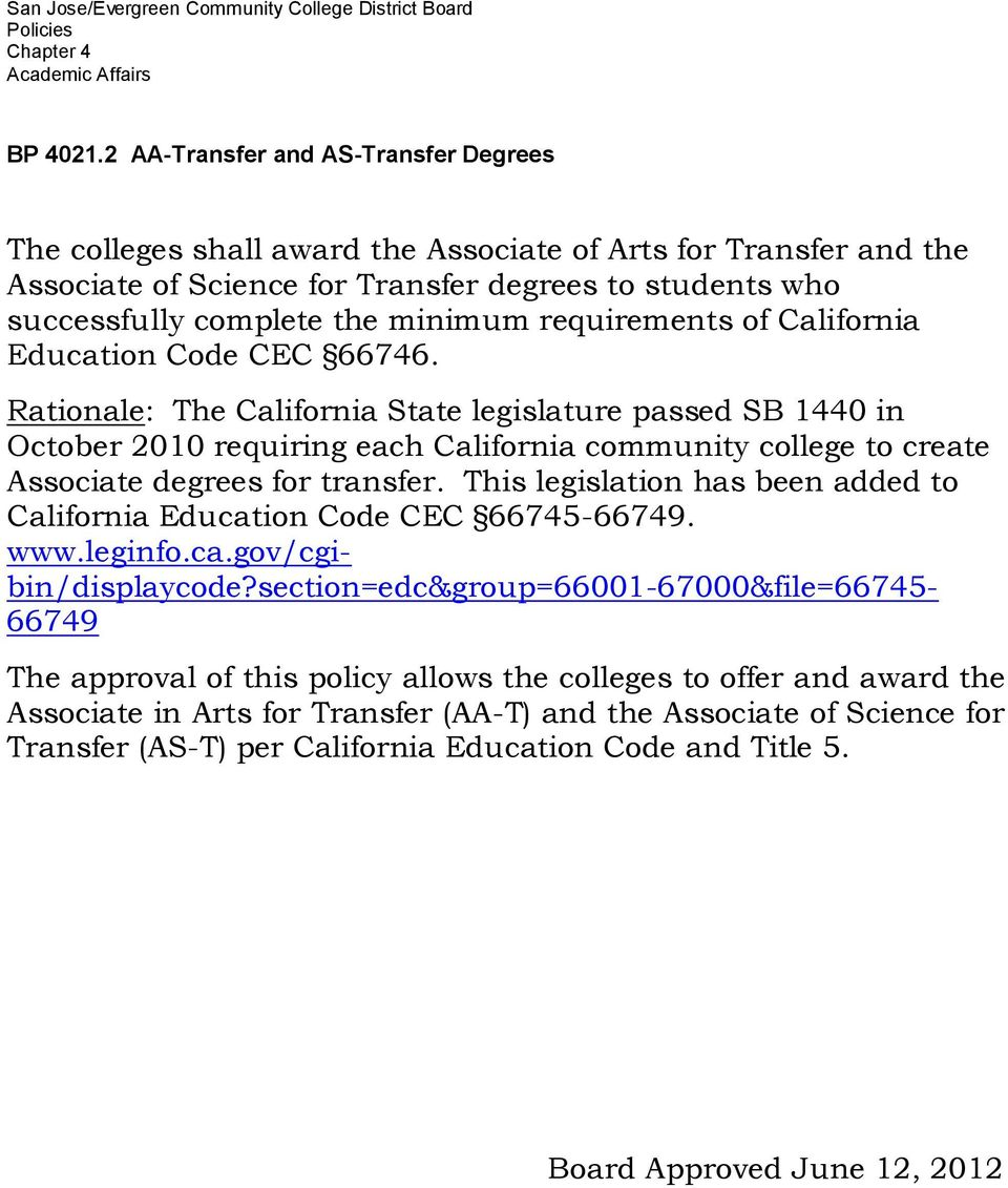 requirements of California Education Code CEC 66746.
