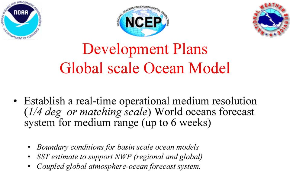medium range (up to 6 weeks) Boundary conditions for basin scale ocean models SST