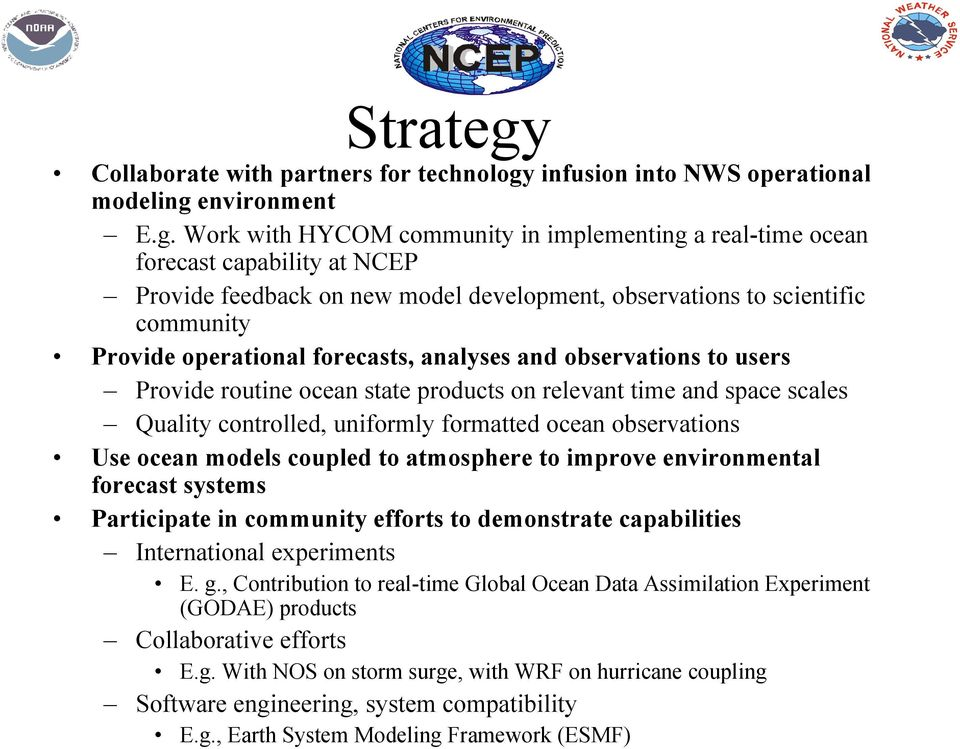 infusion into NWS operational modeling