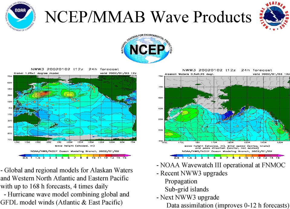 and GFDL model winds (Atlantic & East Pacific) - NOAA Wavewatch III operational at FNMOC - Recent