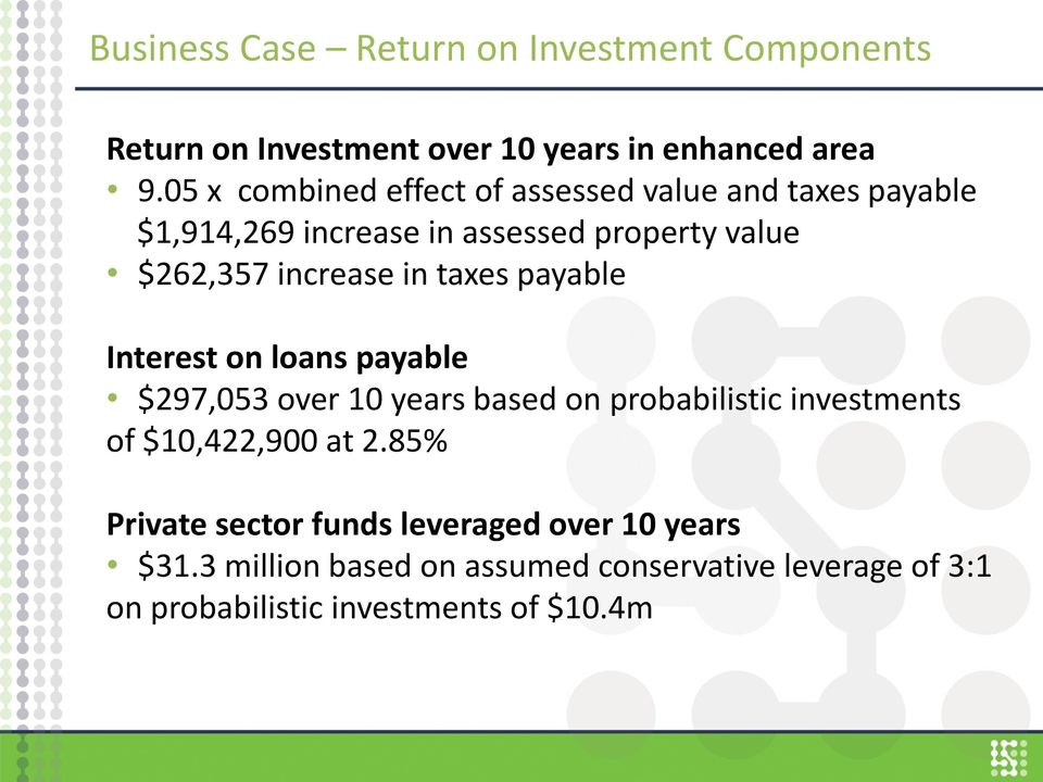in taxes payable Interest on loans payable $297,053 over 10 years based on probabilistic investments of $10,422,900 at 2.