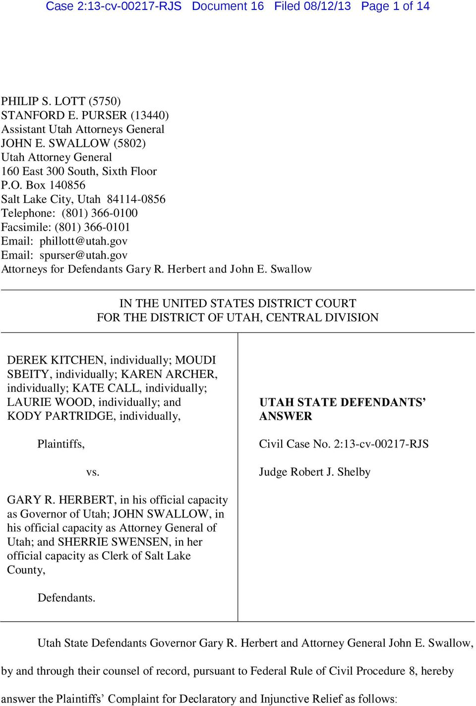 gov Email: spurser@utah.gov Attorneys for Defendants Gary R. Herbert and John E.