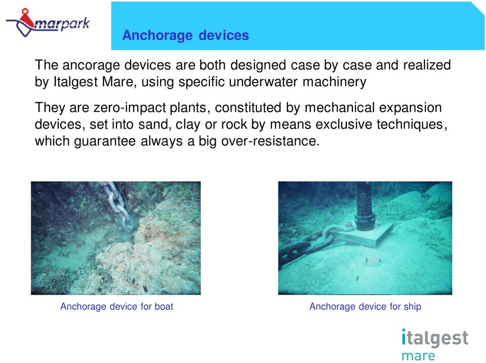 by mechanical expansion devices, set into sand, clay or rock by means exclusive techniques,